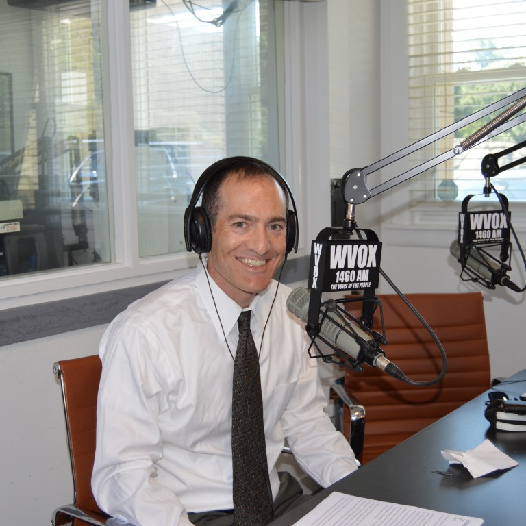 Photo of Scott Richman in the WVOX radio studio - AJC Live Interview with Rabbi David Saperstein - October 16