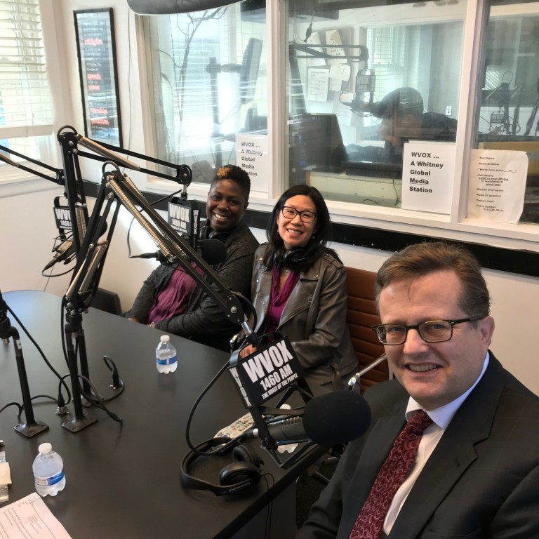 Photo of Rev. Doris Dalton, Bill Darger, and Rev. Kymberly McNair appearing on AJC Live - 10.30.17 regarding Thanksgiving Diversity Breakfast