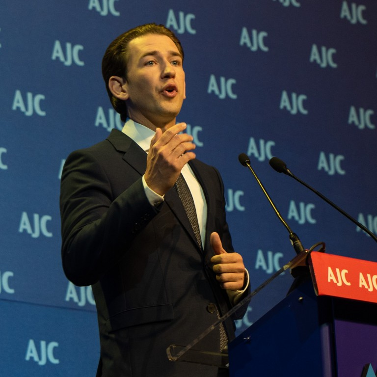 Photo of Austrian Chancellor Kurz Delivering Powerful Message of Responsibility at AJC Global Forum