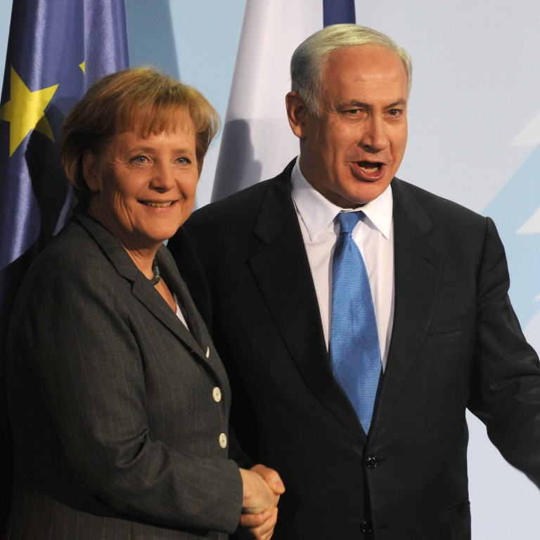 Photo of Prime Minister Netanyahu with German Chancellor Angela Merkel