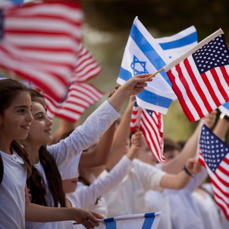 Photo of children waving Israeli and American flags
