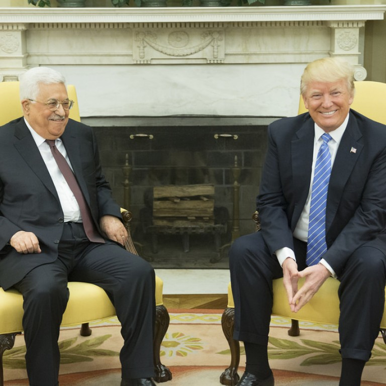 Photo of President Trump with Palestinian Authority President Mahmoud Abbas