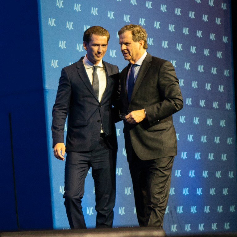 Photo of AJC CEO David Harris and Austrian Chancellor speaking at AJC Global Forum