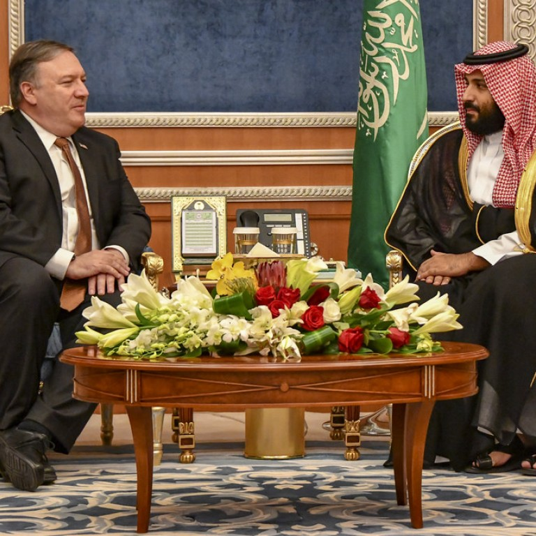 Photo of Secretary of State Mike Pompeo with Saudi Crown Prince Mohammed bin Salman