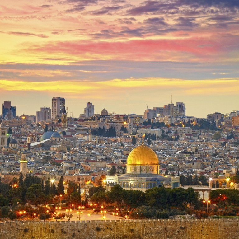 Photo of Jerusalem at dusk.