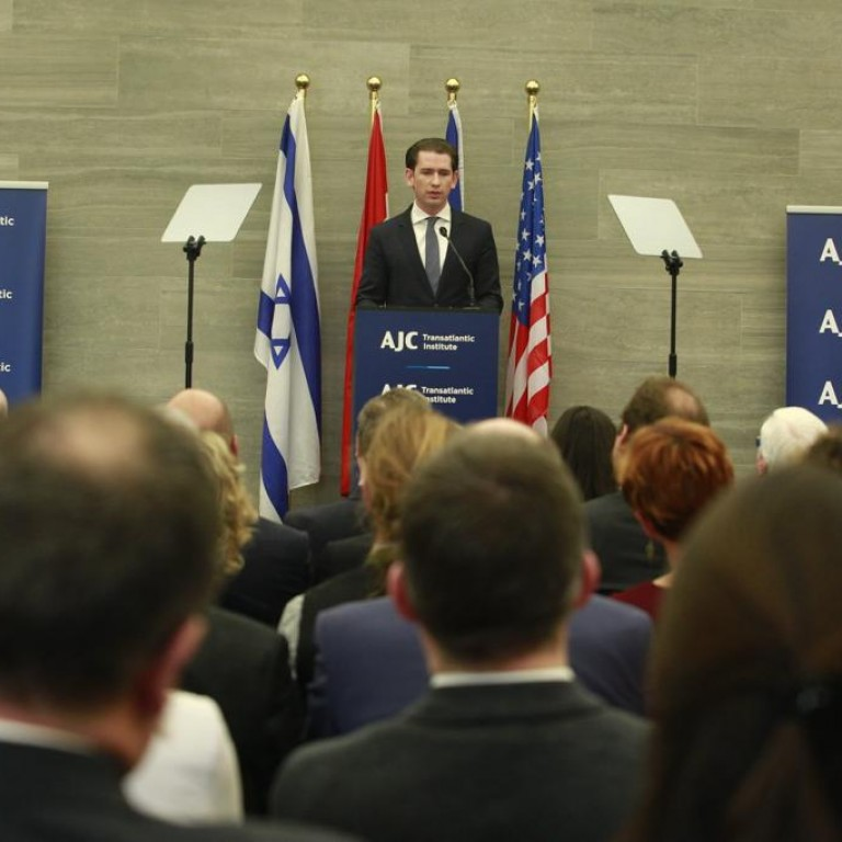 Photo of Austrian Chancellor Kurz speaking to an AJC audience in Brussels