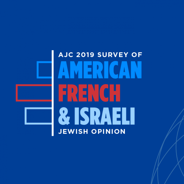 Graphic displaying AJC 2019 Survey of American, French, & Israeli Jewish Opinion