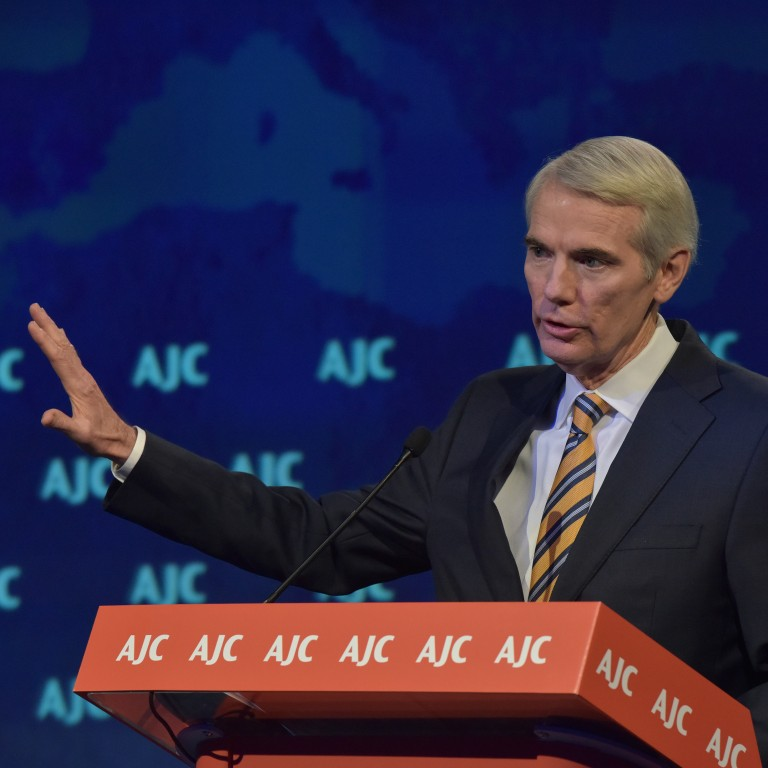 Photo of Senator Rob Portman addressing AJC Global Forum 2019