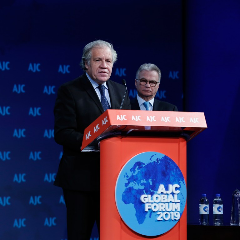 Photo of OAS Secretary General Almagro addressing AJC Global Forum 2019