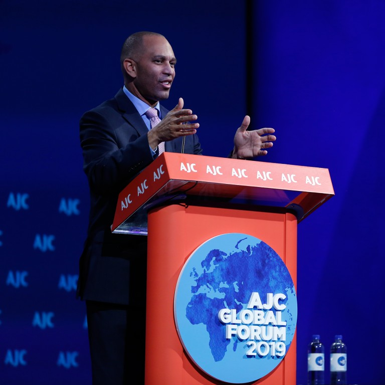 Photo of House Democratic Caucus Chair Hakeem Jeffries addressing AJC Global Forum 2019