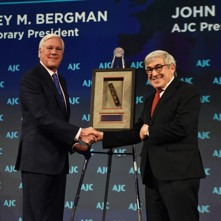 Photo of AJC Honorary President Stanley Bergman and AJC President John Shapiro at AJC Global Forum 2019