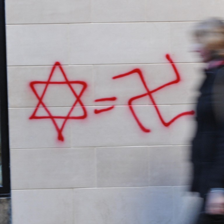 Photo of a star of david and a swatstika on a wall