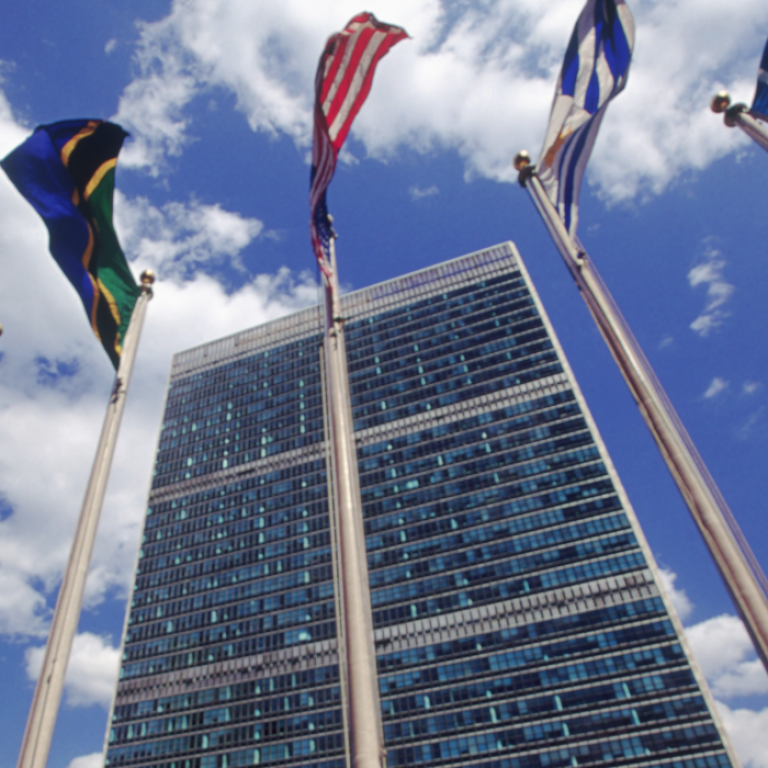 United Nations building and world flags