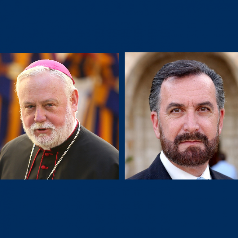 Headshots of Archbishop Paul Gallagher and Rabbi David Rosen