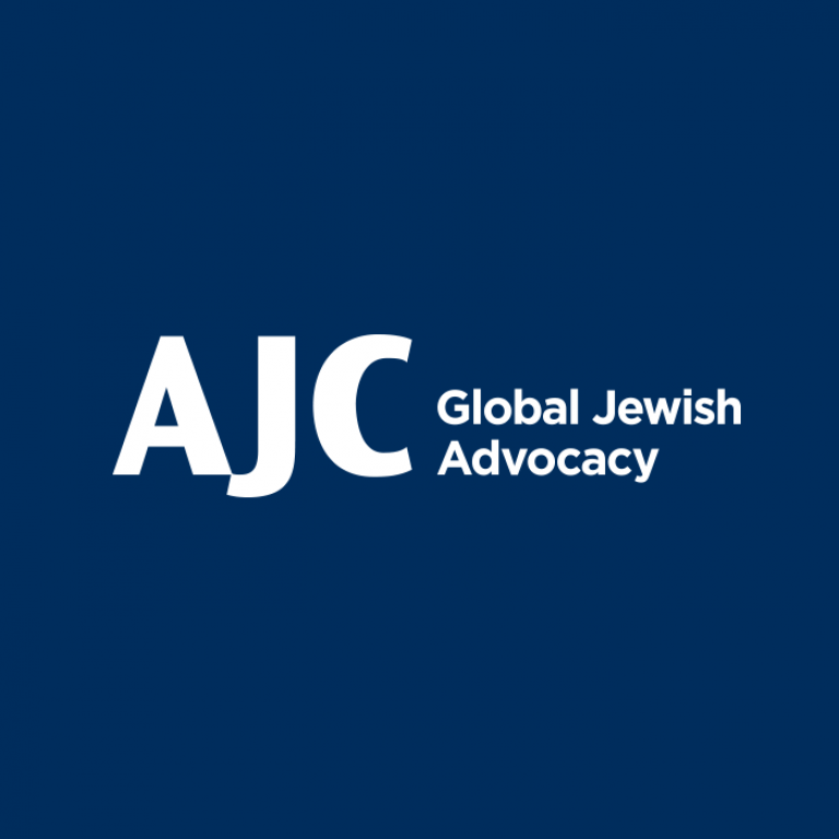 Graphic of AJC Logo with the AJC letters on a navy background with the words Global Jewish Advocacy
