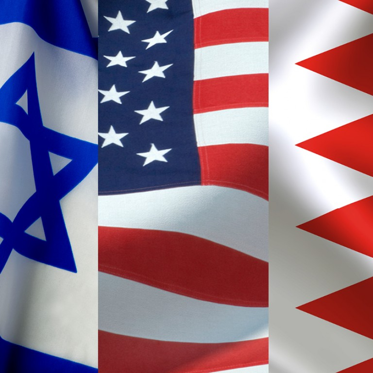 Flags of the US, Israel, UAE, and Bahrain