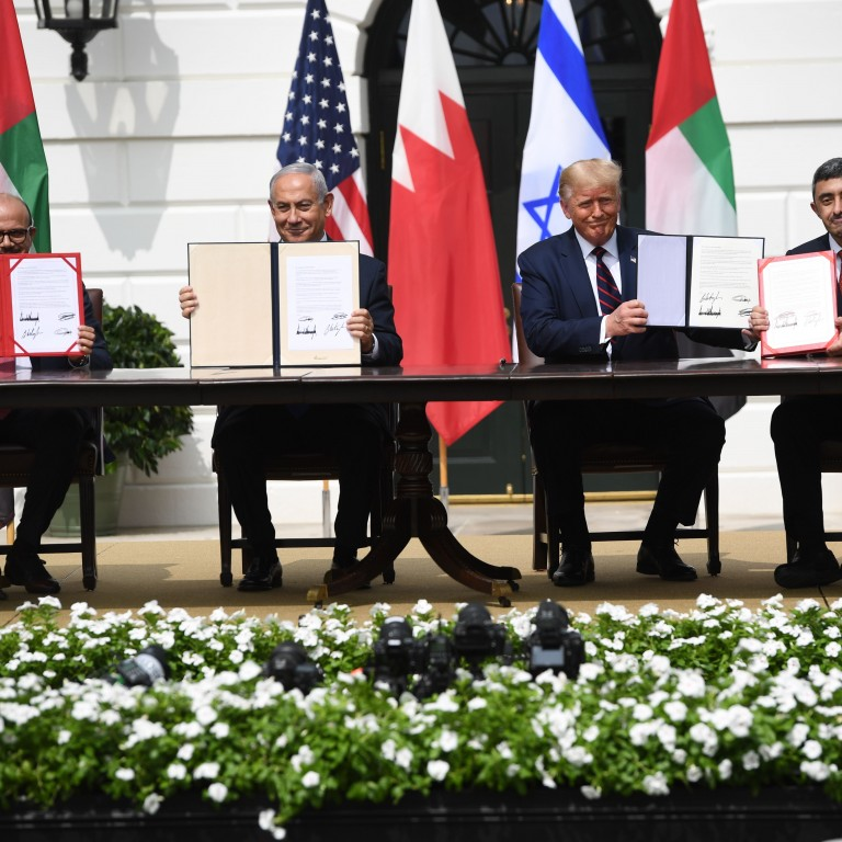 Leaders from the U.S., Israel, Bahrain, and the UAE at the Abraham Accords signing ceremony.