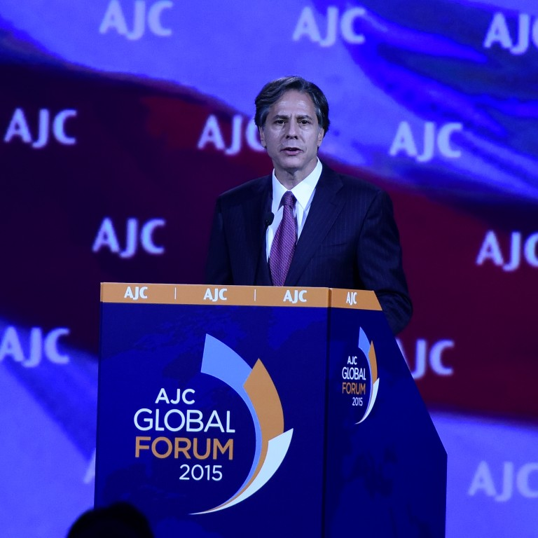 As Deputy Secretary of State, Blinken addressed the 2015 AJC Global Forum in Washington