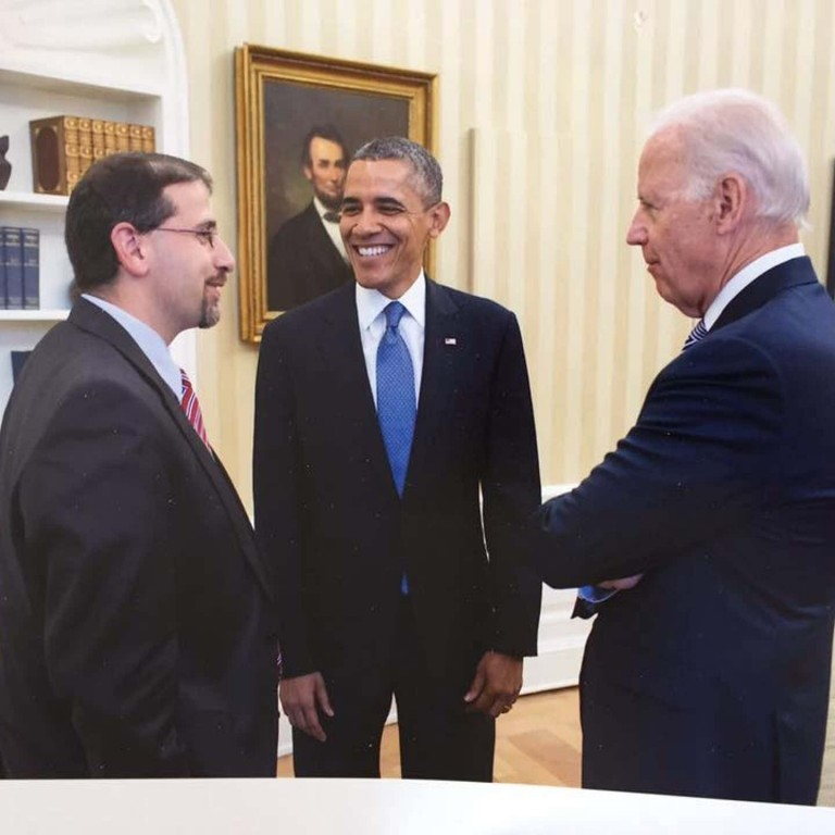 Ambassador Daniel Shapiro with Barack Obama and Joe Biden