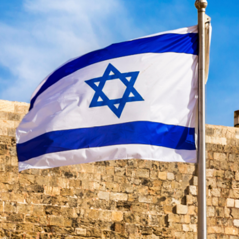 Israeli flag in front of Western Wall