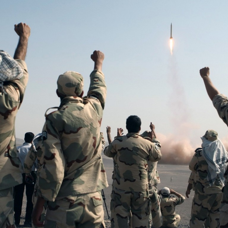 Iranian missiles launching